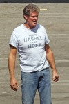 "David Hasselhoff wearing a ""Don't Hassel the Hoff"" t-shirt as he preps for the ""Dancing with the Stars"" premiere at CBS Studios"