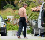 Gerard Buttler shirtless in Malibu CA